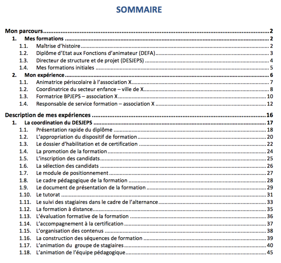 Sommaire Exemple Coopformation